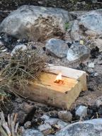 ... schnell ins vorbereitete trockene Holz damit